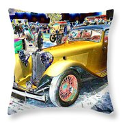 Psychedelic 1930 Jaguar Ss1 At London Classic Car Show 2015 Throw Pillow