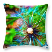 Psychedelic Dandelion Throw Pillow