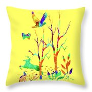 Psychedelic Forest Throw Pillow