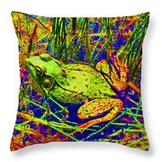 Psychedelic Frog  Throw Pillow