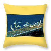 Psychedelic Gulls Throw Pillow
