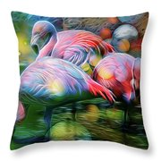 Psychedelic Ibis Throw Pillow