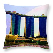 Psychedelic Marina Bay Sands Hotel Singapore Throw Pillow