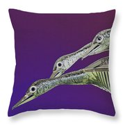 Psychedelic Metal  Sculpture Of Three Mallard Ducks Flying Throw Pillow