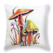 Psychedelic Mushrooms Throw Pillow