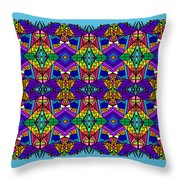 Psychedelic Pattern Blue Throw Pillow