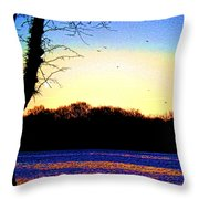 Psychedelic Sunrise On The Delaware River Throw Pillow