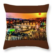 Psychedelic Sunset Art Throw Pillow