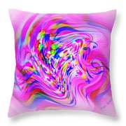 Psychedelic Swirls On Lollypop Pink Throw Pillow