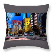Psychedelic Tokyo Throw Pillow