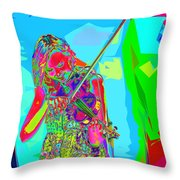 Psychedelic Violinist Throw Pillow