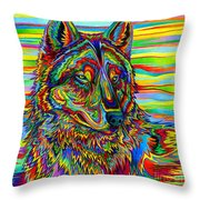 Psychedelic Wolf Throw Pillow
