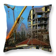 Psycho Plovdiv Crane Throw Pillow