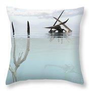 Pteranodon Pterosaur Diving Underwater Throw Pillow