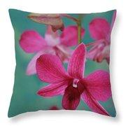 Puanani Kealoha Dendrobium D Burana Red Flame Hawaiian Orchid Throw Pillow