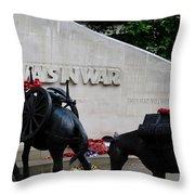 Public Memorial Honoring Military Animals In War London England Throw Pillow