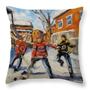 Puck Control Hockey Kids Created By Prankearts Throw Pillow