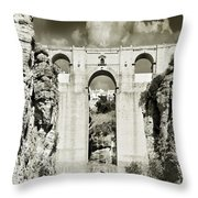 Puente Nuevo Tajo De Ronda Andalucia Spain Europe Throw Pillow