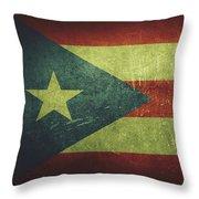 Puerto Rico Distressed Flag Dehner Throw Pillow