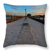 Puerto Villamil Pier Galapagos Throw Pillow