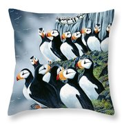 Puffin College Throw Pillow