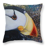 Puffin Glam Throw Pillow