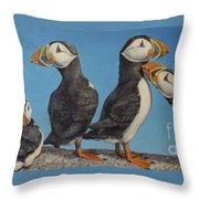 Puffin Palooza 1 Throw Pillow