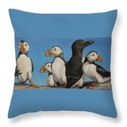 Puffin Palooza 2 Throw Pillow