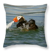 Puffin With A Prize Throw Pillow