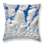 Puffy Clouds And Blue Sky Throw Pillow