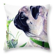 Pug And Nature Throw Pillow