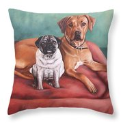 Pug And Rhodesian Ridgeback Throw Pillow