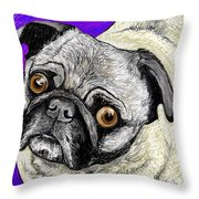 Olivia The Pug Throw Pillow