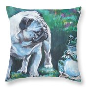 Pug Fawn With Frog Throw Pillow