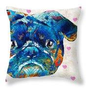 Pug Love Dog Art By Sharon Cummings Throw Pillow