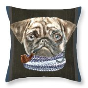 Pug Monacle Scarf Pipe Dogs In Clothes Throw Pillow