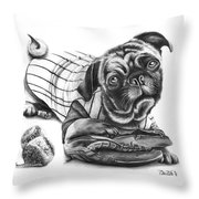 Pug Ruth  Throw Pillow by Peter Piatt