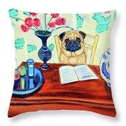 Pug Scholar Throw Pillow