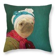 Pugdin Self-portrait Throw Pillow