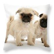 Pugzu And Pug Puppies Throw Pillow