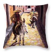 Pulling Up The Rear In Mexico Throw Pillow