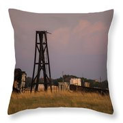 Pump Jack Golden Hour Throw Pillow