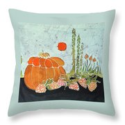 Pumpkin And Asparagus Throw Pillow