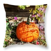 Pumpkin And Flowers Throw Pillow