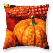 Pumpkin Corn Still Life Throw Pillow