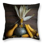 Pumpkin, Corncob, Autumn Leaves And Burning Candles Decoration O Throw Pillow