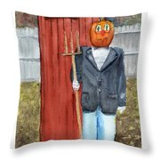 Pumpkin Farmer Throw Pillow