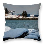 Pumpkin Island Lighthouse Throw Pillow