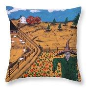 Pumpkin Patch Scarecrow Throw Pillow