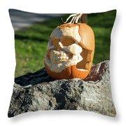 Pumpkin Skull Throw Pillow